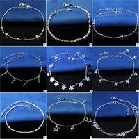 Vente chaude Tamping 925 Anklets Sterling Sterling pour femmes Simple Perles Silver Chain Chaîne Ankée Bijoux de pied de cheville 195 Q2