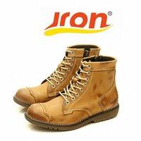 JRON impermeable para hombres botas de cuero genuino tobillo otoño invierno suela de goma botas tres colores disponibles 17.5 cm tacón a suela c1zg #