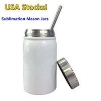 Sublimação local de armazém canecas 17oz mason frascos com tampa de palha de metal aço inoxidável de parede dupla isolada copos de café DIY frascos de impressão de transferência de calor