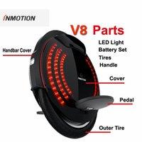 원래 Inmotion V8 부품 바디 쉘 보호 커버 가방 핸들 조정 가능한 페달 내부 타이어 LED 라이트 외발 자전거 액세서리
