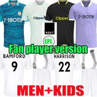 21 22 Leeds Soccer Jersey 2021 2022 Camisa de futebol em casa Phillips Firpo Júnior Bamford Raphinha Diego Llorente Rodrigo Homens Mulher Kits uniforme