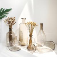 꽃병 Nordic INS 거품 유리 꽃병 연기 회색 테라 리 움테터 웨딩 병 홈 장식 jarrones decorativos moderno