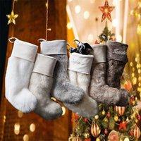 Newest Christmas Stocking Faux Plush Sock Santa Claus Socks Candy Gift Bag Xmas Tree Pendent Fireplace Decoration 29x38cm