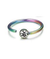 Aço inoxidável Anel de nariz Nail C Em forma de corpo piercing anéis de piercing diamante de cristal para as mulheres moda jóias e arenoso