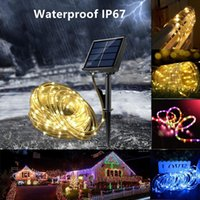 Solar Lamps Decoration Of Yard And Garden Light Outdoors Led Festoon Tube Rope String 12 22M For Christmas Year Party Decor