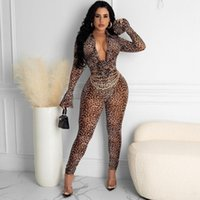 Women's Two Piece Pants 2021 Women Fashion Trend Personality Sexy Fall Tight Long Sleeve Print Leopard Set