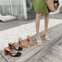 designer 2021 Summer Woman 8cm High Heels Sandals Classic Block Heels Platform Pumps Lady Chunky Brown Wedding Prom Sandles Shoes