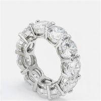 Vecalon 925 Sterling Silver Eternity Pierścień 6mm 5A Cyrkon Sona CZ Zaręczyny Zespół Ślubny Pierścienie Dla Kobiet Bridal Finger Biżuteria 25 R2