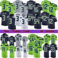 Männer Frauen Jugend Fußball 3 Russell Wilson 14 Dk Metcalf 54 Bobby Wagner 24 Marshawn Lynch 16 Tyler Lockett 33 Jamal Adams Jersey genäht