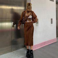 Marrom y2k estética cetim midi saia para mulheres casuais lado split lateral alto cintura saias senhoras verão streetwear moda