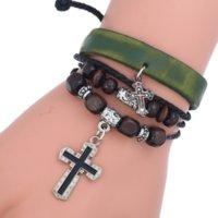 Multilayer Wrap Jesus Cross Charm Armband Houten Kralen String Verstelbare Lederen Armbanden Bangle Cuff voor Vrouwen Mannen Mode-sieraden Will en Sandy