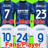 S - 4 XL Inter Futebol Jersey Lukaku Milão Lautaro Vidal Barella Lautaro Eriksen de VriJ Hakimi Camisa de Futebol 2021 2022 Men + Kit Kit uniformes Quarto