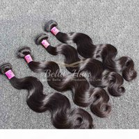 El pelo mongol teje 4pcs lot Virgin Human Hair Body Wave Extensiones de cabello DHL envío gratis color natural bellahair 8a