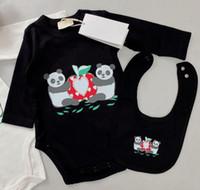 2021 Designer 2pcs Sets children Romper Newborn kids baby Boys Girls saliva towel Toddler Cotton Short Sleeve Jumpsuits Infant Onesies Rompers + Bib Kid hat Clothes