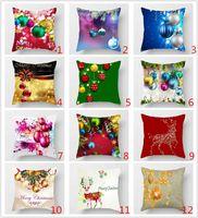3D Printings Christmas Burlap Pillow Cover Shams Linen Square Throw Pillowcases Cushion Covers For Bench Sofa Christmas Pillow Case