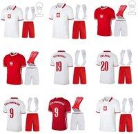 الكبار الاطفال كيت + الجوارب 2021 2022 Polska Soccer Jerseys 20 21 Lewandowski المنتخب الوطني Home White White Milik Piszczek Piatek Groskicki Football Shirts Offe
