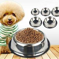 Bacia de cães de aço inoxidável animais de estimação padrão de estimação cães tigelas cachorrinho fofo ou bebida prato de água zwl29