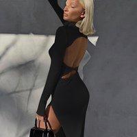 Spring Summer Backless Long Sleeve Dress Woman Elegant Split Stretchy Waist Midi Dress Women Sexy Bodycon Party Dresses Female