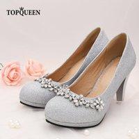 Elbise Ayakkabı Topqueen-A78 Düğün Tatlı Rhinestone Gelin Prenses Su Matkap Yüksek Topuklu Küçük Büyük Pompalar