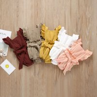 Baby Girls Solid Pagliaccetti in cotone manica volante Single Breasted Strap Grucksuit Kidsuit Bambini Onesies Girls Outfits 0-3T 04 29 Y2