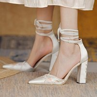Dress Shoes Women Pointed Toe Ankle Strap Embroidery High Heel Lace Up Evening Party Pumps For Lady Elegant Fashion Solid