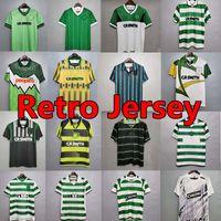 Celtic Retro 01 02 Jerseys de futebol Larsson Home 93 95 96 99 99 Camisas de futebol Sutton Nakamura Keane Black 05 06 07 08 89 91 92 84 85 Clássico Vintage Jersey Uniforms
