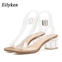 Eilyken PVC Jelly Sandals Crystal Leopard Open Toed High Heels Women Transparent Heel Sandals Slippers Square heel zapatos 210615