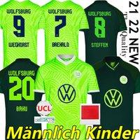 21/22 VFL Wolfsburg 축구 유니폼 Brekalo Roussillon Steffen Whyhorst 2021 2022 Uniform Klaus Xaver Malli Arnold Guilavogui Baku Men + Kids Kit Football Shirts