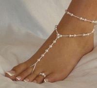 BAREFOOT SANDALS Body Schmuck Schmuckschmashung-Sandalen Stretch-Fußkettchen mit Zehenring Fußklets Kette 1 Paar / Los Einzelhandel Sandbeacher Hochzeit Braut B