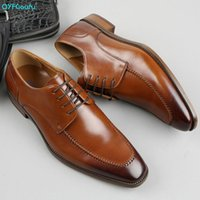 Dress Shoes QYFCIOUFU Italian Cow Genuine Leather Formal Oxford Men Lace Up Pointed Toe Business Office Work Male Footwear