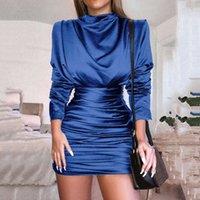 Women Fashion Sexy Satin Dress Turtleneck Bodycon Party Dress Ruched High Waist Mini Long Sleeve Plus Size Dresses
