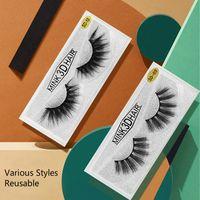 False Eyelashes Eyes Makeup Mink Like eyelashe 3D Mink-Lashes 20 Optional Plastic Cotton Stems Pure Handcraft