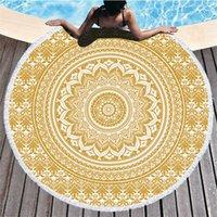 Mandala Beach Serviette 150cm Ronde Plage Couverture Tissu Tissu Tapis imprimé Tapisserie Bohemian Tapisserie Tapis de Yoga Couvre ZZC4941