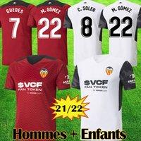 21 22 발렌시아 CF 축구 유니폼 VCF 저지 2021 2022 Guedes Gameiro Camisetas de Fútbol Rodrigo M. Florenzi M.Gómez 남자 키트 풋볼 셔츠 탑 태국