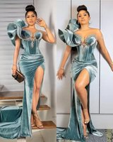 Dusty Blue Prom Dresses Jewel Neck Sheath Mermaid Side Split Velvet Sweep Train Beading Crystals Beaded Sexy Backless Ruffles Custom Made Evening Gown vestidos