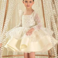 Girl's Dresses Ivory Pink Sequined Flower Girl Long Sleeves Short Lilttle Kids Birthday Pageant Weddding Ball Gowns