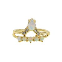 Chevron Compromiso Banda Opal Stone Gold Color Fashion Anillos de apilamiento 2pcs para las mujeres Dama Regalo Diseño mínimo