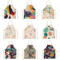 Linen and Cotton Kitchen Apron with colorful geometric pattern, women, household cleaning cloth, 53x65 cm, Nordic short, 46233 cm J0604
