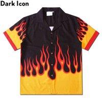 Dark icon Chemise de flamme Hommes Vintage Street Chemise Homme Summer Hawaiian Shirt Homme Vêtements 210610