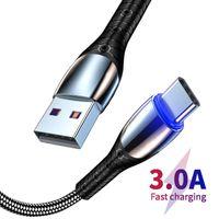 Câbles de téléphone mobile Android Alliage de zinc Données USB Synchronisation Câble de charge 3A Chargeur de vitesse rapide 1M 3FT pour iPhone Samsung Xiaomi