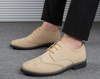 Dress Shoes 2021 Men British Vintage Suede Lace-up Oxford Formal Brogue Male Wedding Prom Homecoming Sapato Social Masculino