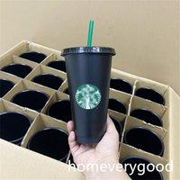 Starbucks 24oz 710ml plastic mug Reusable black drinking flat sippy cup with column lid