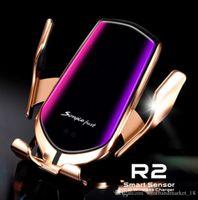 R2 스마트 센서 유도 자동차 마운트 무선 충전기 iPhone X XR XS 최대 S10 플러스 빠른 충전 스탠드 공기 통풍 전화 홀더