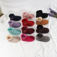 2021 Australia Fashion Mini Infant Button Classic Kids Snow Boots Chestnut Born Baby Small girl boys Thick Warm Cotton-Padded Suede Buckle Flats size 21-35 D1CJ#