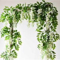 7ft 2 M Çiçek Dize Yapay Wisteria Asma Çelenk Bitkiler Yeşillik Açık Ev Tırtılı Çiçek Sahte Asılı Duvar Dekorasyonu