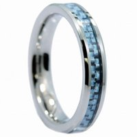 Wedding Rings Womens 4mm Tungsten Carbide Blue Carbon Fiber Inlay Ring Bands Comfort Fit US Size 4-10