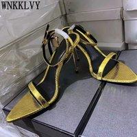 Oro puntiagudo punteado sandalias de tacón alto mujeres cuero real banda estrecha metal cerradura decoración tobillo correa sandalias verano sexy zapatos de fiesta 210309