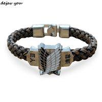 Nouvelle attaque d'anime sur le bracelet en cuir Titan Charm Shingeki no Kyojin Cosplay Cosplay Unisexe Bracelets Bracelet Bracelets Bracelets Bracelet