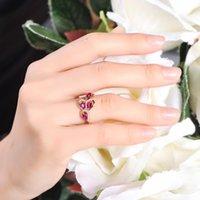 Anéis de cluster Silver Color Sterling S925 Ruby Diamond Ring para Mulheres Espumante Cirle Vermelho Topaz Pedra Pedra Luxo 925 Jóias Caixa