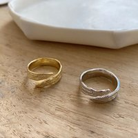 Gold Foil Texture Rings 925 Silver Punk Jewelry Charm Bohemi...